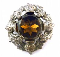 Vintage Large Faux Smoky Quartz And Scottish Thistle Brooch By Miracle.